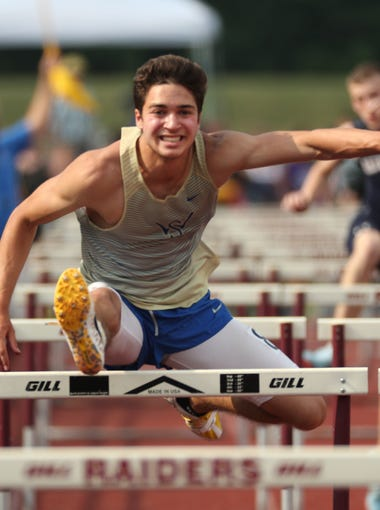 Webster Schroeder's Sinan Ersan wins the hurdle event in the Outdoor Pentathlon  in the Section V State Qualifier.