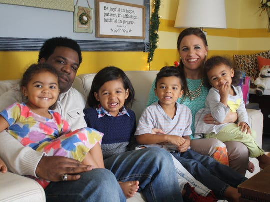 The Bryan family at their Palm Bay home. From left to right: Ireland, 3; dad Val; Princeton, 7; Ocean, 5; mom Jayme; Sparrow, 2.