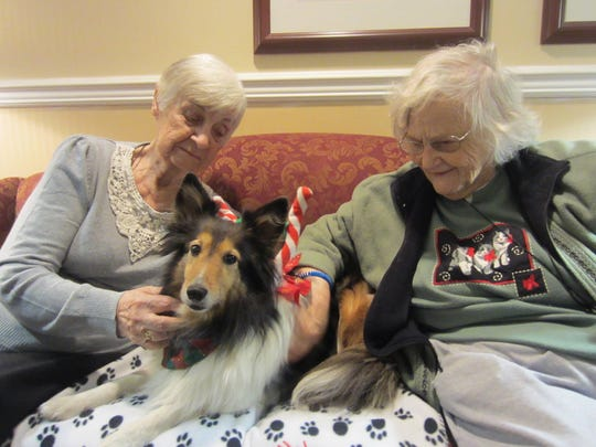 A 2016 photo of Polly paying a visit to two women at Brookdale Senior Living in Wayne.