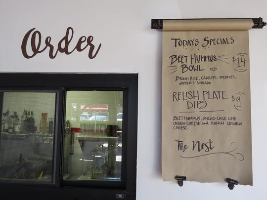 Daily specials are listed on a roll-down menu next to the order window at The Nest, now open at 401 E. Ojai Ave. in Ojai.