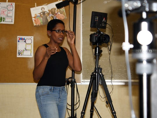 Filmmaker and entertainer Gina Carey behind the camera