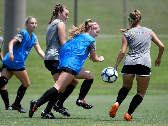 Tennessee Soccer Club's 1999 Showcase soccer team trains for US Youth Soccer National Championships in Frisco, Texas at Williamson County soccer complex in Franklin on July 17, 2017.