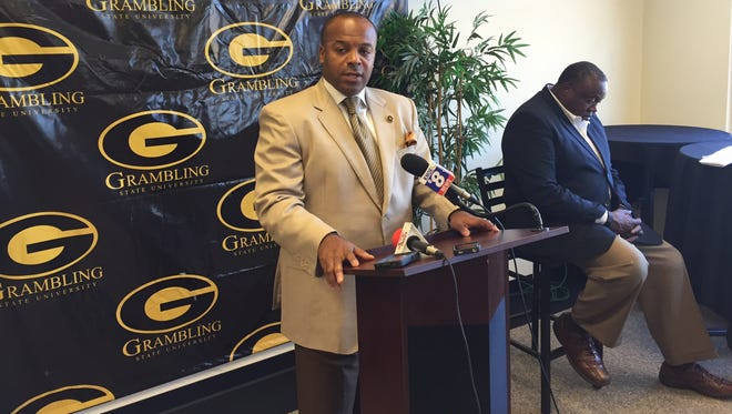 Grambling coach Broderick Fobbs addresses the media Monday during his weekly press conference.