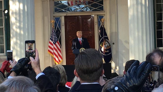 President Donald Trump speaks while at The Hermitage on Wednesday.
