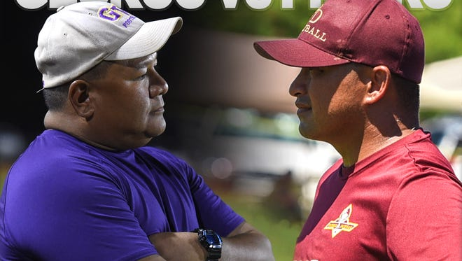 George Washington head coach Ryan Rios, left, meets Father Duenas' head coach Bruce Meno for the fourth straight year.