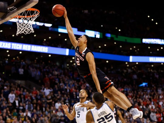Texas Tech Red Raiders guard Zhaire Smith (2) attempts a dunk against Villanova's Mikal Bridges. The 76ers drafted Bridges with with the No. 10 pick, then traded him to Phoenix for Smith.