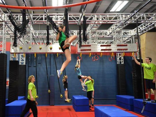 The 1,800-square-foot Ninja Warrior training course
