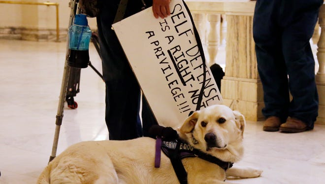 Jerry, the service dog of Kathy Renbarger of Seminole, Okla., sits at her feet as she holds a pro-gun sign at the state Capitol in Oklahoma City, May 7, 2018, as a small group of gun rights supporters rallied outside Oklahoma Gov. Mary Fallin's office.