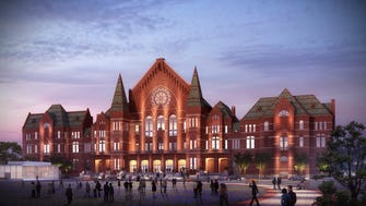 An artist's rendering of the front of the renovated Music Hall