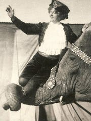Lucia Zora with her favorite elephant, Snyder, who she taught to walk the length of the Big Top on his hind legs. He was devastated when she left the circus in 1917, went berserk and had to be put down. Zora kept Snyder's hide at her home in Fort Pierce.