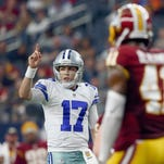 Kellen Moore (17) of the Dallas Cowboys callas a play against the Washington Redskins on Jan. 3, 2016, in Arlington, Texas.