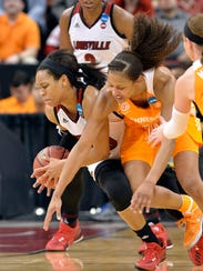 Louisville's Asia Durr competes with Tennessee's Jaime
