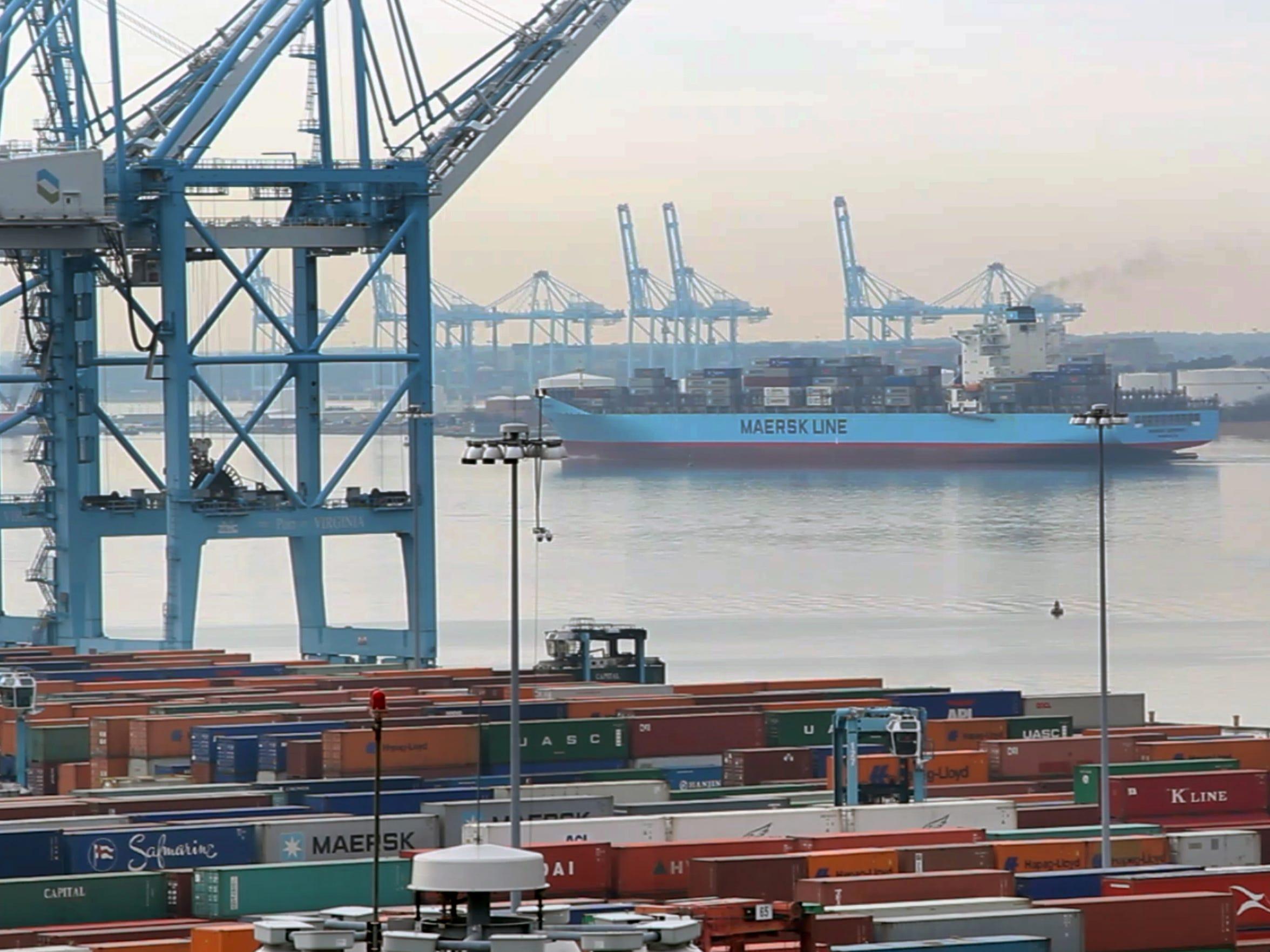 A Maersk Line ship leaves port in Norfolk, Va.