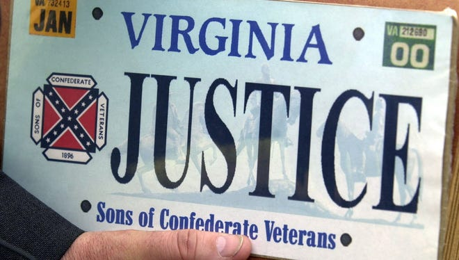 This file photo from May 2, 2002 file photo shows a sample of the Sons of Confederate Veterans specialty Virginia state license plate in Richmond, Va.