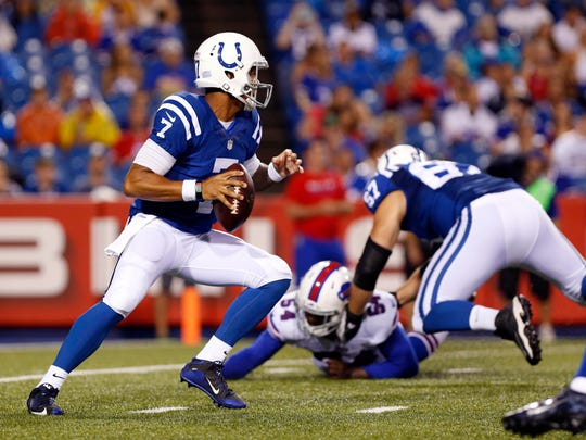 Aug 13, 2016; Orchard Park, NY, USA; Indianapolis Colts quarterback Stephen Morris (7) drops to throws a pass during the second half against the Buffalo Bills at Ralph Wilson Stadium. Colts beat the Bills 19-18. Mandatory Credit: Kevin Hoffman-USA TODAY Sports