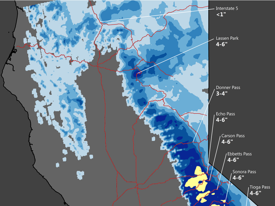 Motorists in the mountains can expect to see some snow above 3,000 feet.