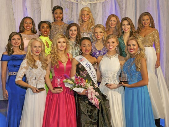 Tiara Pennington, front center, Miss Alabama's Outstanding Teen 2016, with the top fifteen. (Contributed)