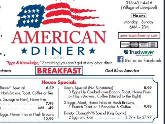 "A menu item at the American Diner lists a ""Dictator"