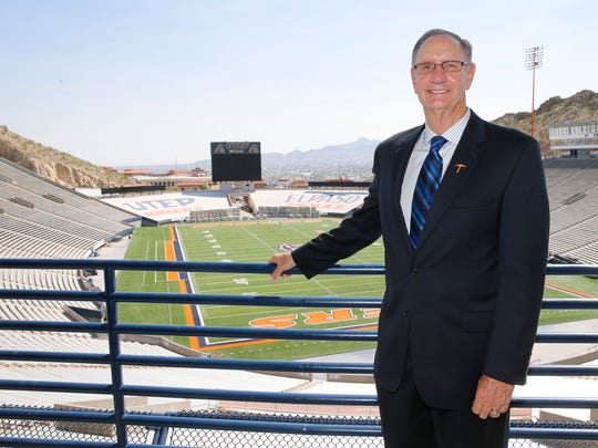 UTEP Athletic Director Bob Stull stands with the Sun