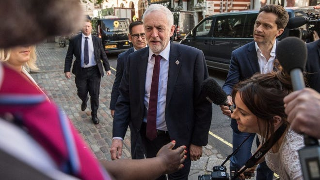 Labour Party leader Jeremy Corbyn arrives in London on May 26 to make a speech on defense.