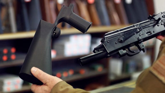 A 'bump stock' device that fits on a semiautomatic