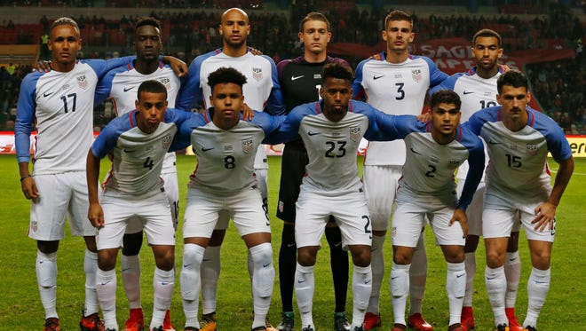 The U.S. soccer team lines up before an international friendly against Portugal at the Dr. Magalhaes Pessoa stadium in Leiria, Portugal.