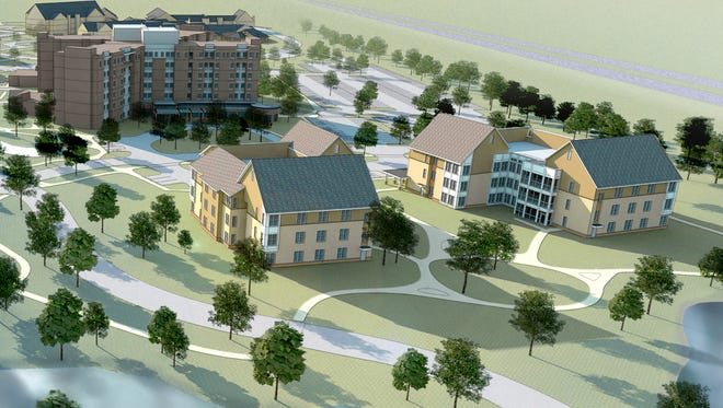 This architect rendering shows the campus of Jewish Senior Life after the smaller homes are built.