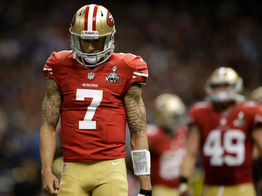 FILE - In this Feb. 3, 2013, file photo, San Francisco 49ers quarterback Colin Kaepernick (7) reacts after throwing an incomplete pass during the second half of the NFL Super Bowl XLVII football game against the Baltimore Ravens in New Orleans. The Ravens won 34-31. (AP Photo/Evan Vucci, File)