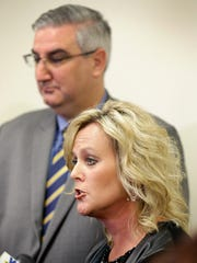 Jennifer McCormick, Superintendent of Public Education and Gov Eric Holcomb talk to the media at the Blue Academy in Decatur Township Tuesday, Oct. 23, 2017. Indiana Governor Holcomb, Jennifer McCormick, Superintendent of Public Education and Evan Marwell, EducationSuperHighway CEO announced the partnership that will provide 38,500 Indiana students with faster internet in schools.