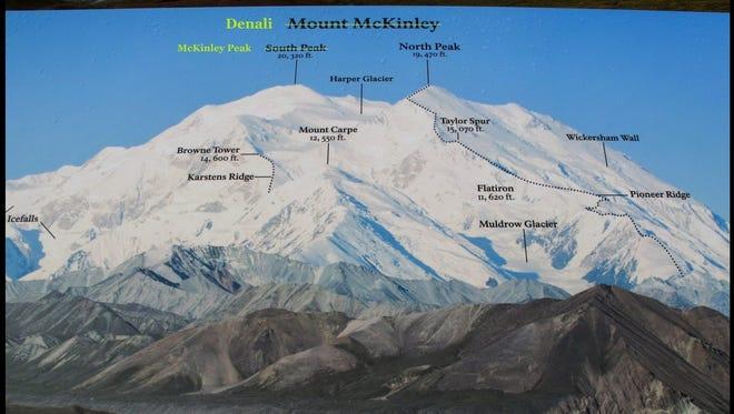 Change South Peak to McKinley Peak, leaving the entire mountain as Denali.