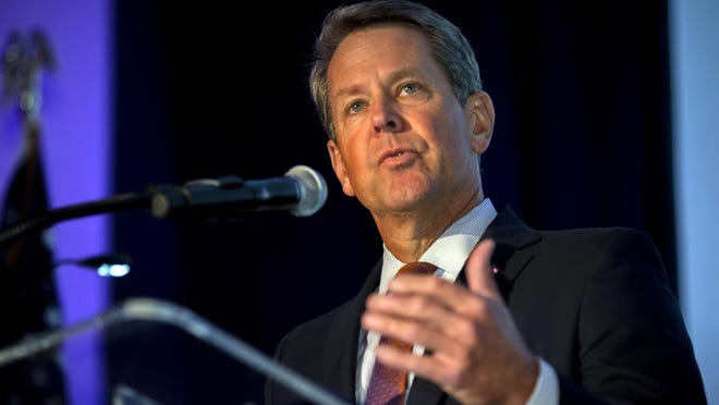 In this image provided by the Georgia Port Authority, Georgia Gov. Brian Kemp speaks during the Georgia Ports Authority's Savannah State of the Port event, Thursday, Sept. 12, 2019, in Savannah, Ga.