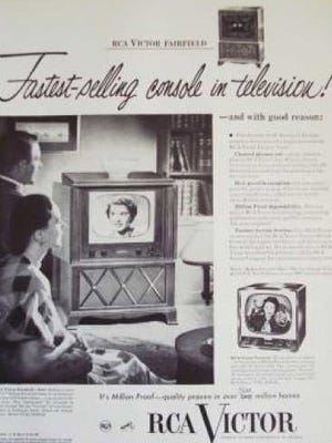 A 1950s advertisement for a console television set.
