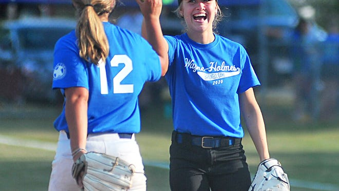 Chippewa's Keirstan Taylor was all smiles after teammate Olivia Betson caught a pop fly.