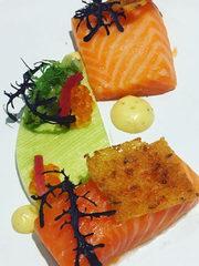 The winning dish by Paris Dreibelbis at Ment'or Young Chef Competition on Nov. 8 in Las Vegas: confit salmon belly, leek custard, leeks vinaigrette, mustard hollandaise and mustard-green frills.