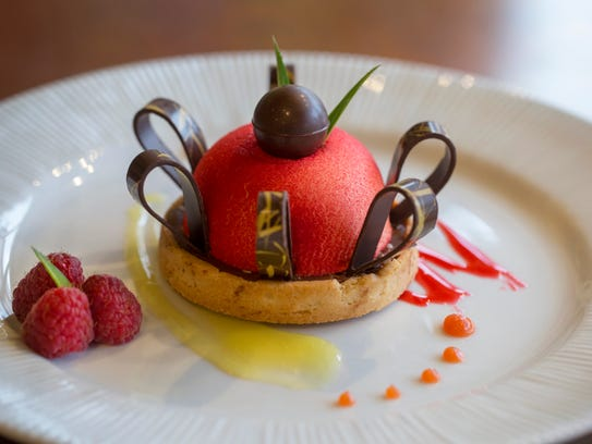 The grapefruit mousse is one of the pastry dishes served