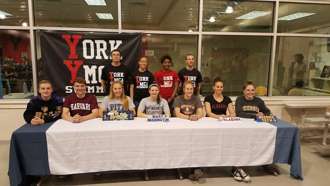 Seven York YMCA swimmers have signed National Letters of Intent to swim in college. They are, from left: Red Lion's Dylan North (West Chester), Cumberland Valley's Zachary Snyder (Harvard), Cedar Cliff's Cami Cook (Pittsburgh), Central York's Carley Vaughn (Mary Washington), Manchester Valley's Meghan Small (Tennessee), Dallastown's Kacey Oberlander (Alabama) and Central York's Emily Ilgenfritz (Georgia Tech).