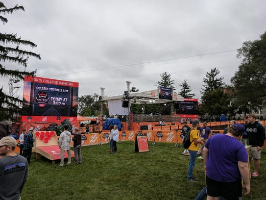 The ESPN GameDay set at JMU on Friday afternoon.