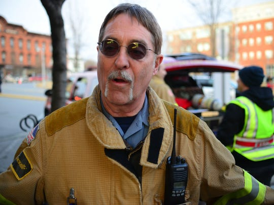 Winooski Fire Chief David Bergeron speaks with the Burlington Free Press about a hazmat situation on Tuesday, March 8, 2016
