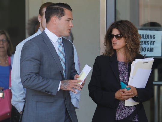 Former Edgemont High School wrestling teacher Tyler Sick leaves Westchester County Courthouse on July 10, 2018.