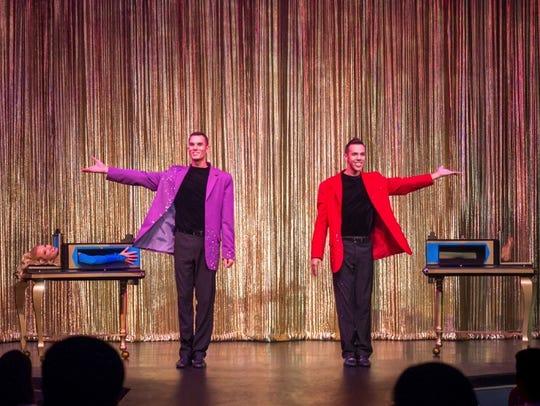 Magicians Chris Zubrick, left, and Ryan Zubrick perform
