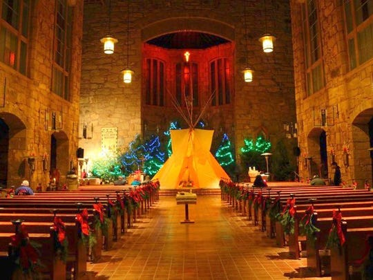 Preparations are completed and the Apache creche is ready for the Christmas Eve Mass.