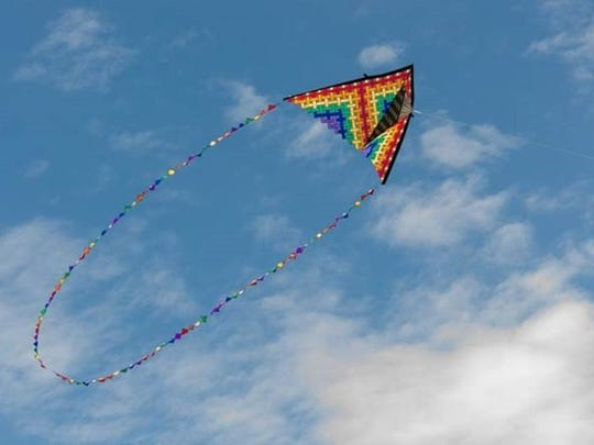 One of the most colorful flyers at the Kite Festival Sunday featured a unique tail design.