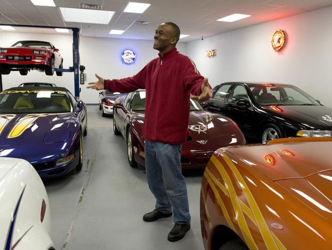 Harrison shows off his big hobby in retirement — his car collection, including limited edition Indianapolis 500 pace cars — on Tuesday in Philadelphia.