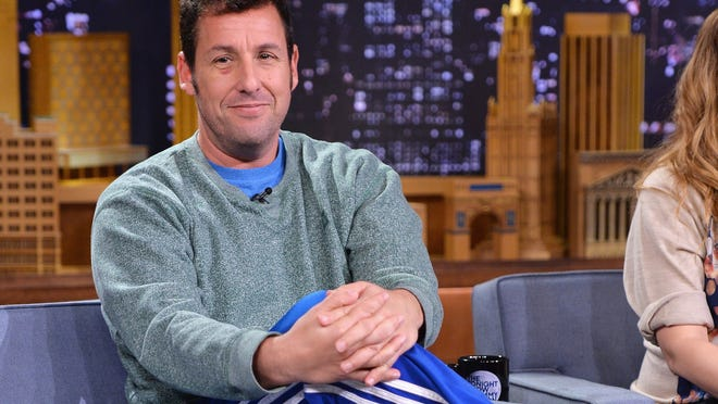 "NEW YORK, NY - FEBRUARY 26:  Actor Adam Sandler visits ""The Tonight Show Starring Jimmy Fallon"" at Rockefeller Center on February 26, 2014 in New York City.  (Photo by Mike Coppola/Getty Images for The Tonight Show Starring Jimmy Fallon)"