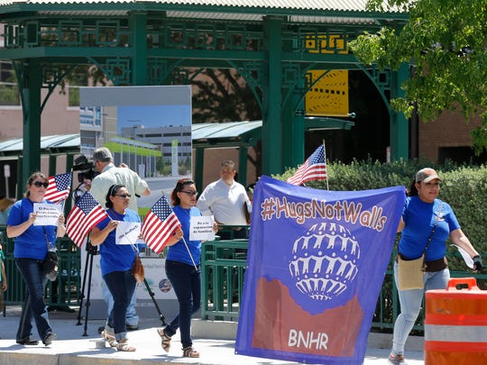 Members of the Border Network for Human Rights (BNHR) and the Borderland Immigration Council held a protest held outside the Federal Building where Attorney General Jeff Sessions and Homeland Secretary John Kelly were holdig a press conference after touring parts of the border and ports of entry in El Paso Thursday morning.