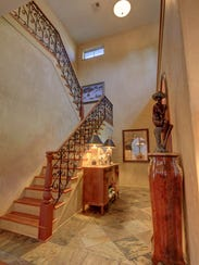 The dramatic two-story foyer.