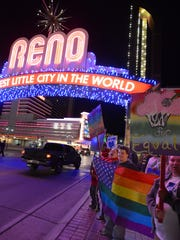 Gays, lesbians and their supporters gather by the Reno