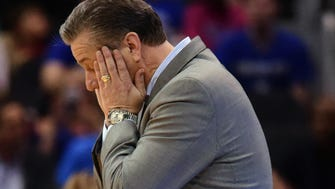 Mar 22, 2018; Atlanta, GA, USA; Kentucky Wildcats head coach John Calipari reacts during the second half against the Kansas State Wildcats in the semifinals of the South regional of the 2018 NCAA Tournament at Philips Arena. Mandatory Credit: Dale Zanine-USA TODAY Sports