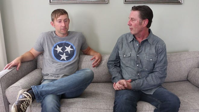 Songwriter Ashley Gorley, left, talks to Bart Herbison about writing 'You Should Be Here' with Cole Swindell