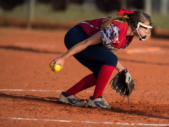 Master's Academy pitcher Chloe Fowler winds up to throw